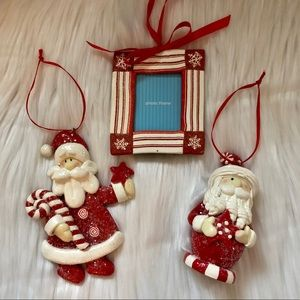 Bundle of 3 Holiday Red & White Ornaments